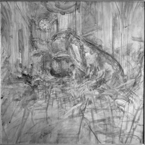 Giovanni Boldini, Cattedrale di Bordeaux con figure in movimento, 1913-14, Coll privata - IRR