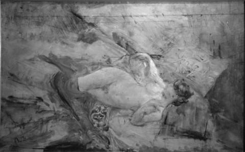 Giovanni Boldini, Nudo sdraiato con calze nere, 1885 ca, Coll privata - IRR