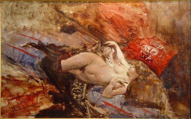 Giovanni Boldini, Nudo sdraiato con calze nere, 1885 ca, Coll privata