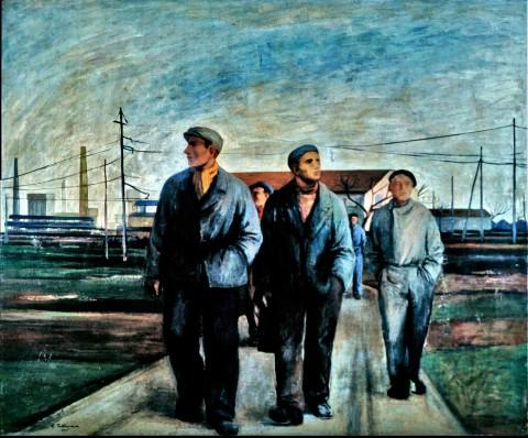 Ampelio Tettamanti, Operai di Milano, 1955 - Mantova (Suzzara), Galleria del Premio Suzzara