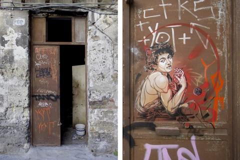 Il Bacco di C215 di Via Monteleone, a Palermo, trafugato - foto Mauro Filippi e Antonio Curcio via Facebook/Street Art Palermo