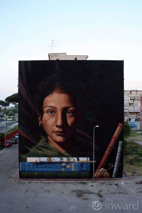 Jorit Agoch, Ael, Tutt'egual song'e criature, 2015 - Napoli - © Inward