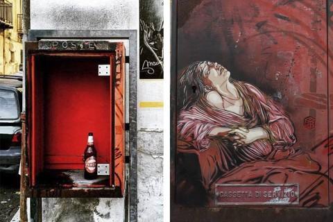 La Maria Maddalena in Estasi di C215 trafugata al Borgo Vecchio, Palermo - - foto Mauro Filippi e Alessandro Gurrieri via Facebook/Street Art Palermo