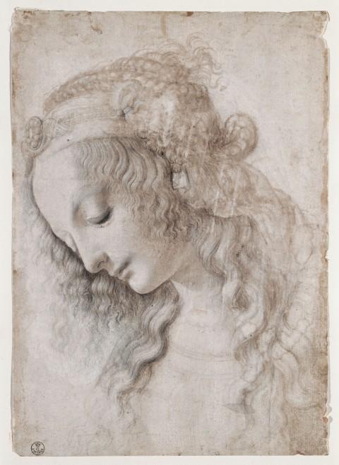 Leonardo da Vinci, Studio di volto femminile (1468-1475 circa) - Firenze, Gabinetto Disegni e Stampe degli Uffizi