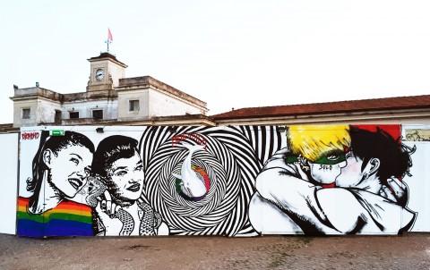 Roma, Pride Park - murales per Gay Pride 2015 - Diamond, Moby Dick, Solo