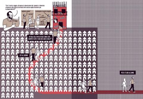 Terre perse. Viaggio nell'Italia del dissesto e della speranza (2015), di Raul Pantaleo e Marta Gerardi (TAMassociati) e Luca Molinari, © Becco Giallo, Padova