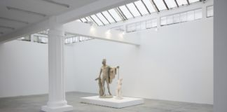 Francesco Vezzoli, Metamorfosi (Self-portrait As Apollo killing the Satyr Marsyas), 2015, 2 parts, Roman Imperial marble figure of a satyr playing the pipe, self-portrait polyurethane sculpture, Satyr: 112,1 cm / Apollo: 220 cm, Courtesy the artist and Galleria Franco Noero, Torino