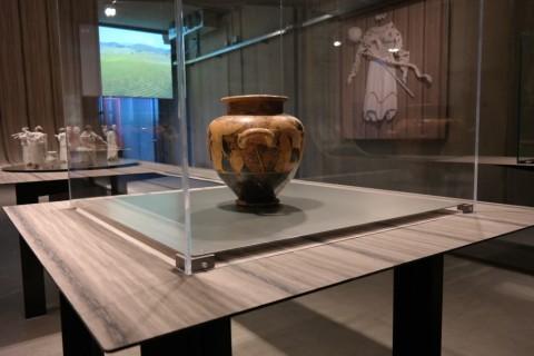 Gli Etruschi e il vino a Rocca di Frassinello - veduta della mostra allestita da Italo Rota