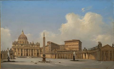 Ippolito Caffi, Roma. Piazza San Pietro, 1856 - Venezia, Fondazione Musei Civici di Venezia-Galleria Internazionale d'Arte Moderna di Ca' Pesaro