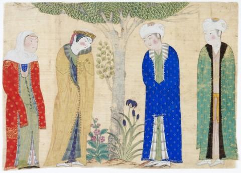 Miniatura dipinta su seta con la rappresentazione di una coppia principesca con attendenti - Asia Centrale, inizi del XV secolo d.C. - Collezione al-Sabah, Kuwait