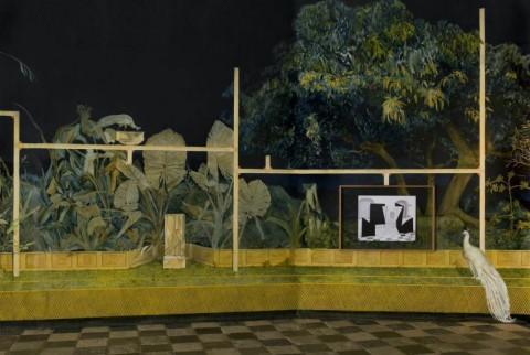 Paolo Chiasera, I giardini di Sardegna, Cipro e Gerusalemme, olio su tela, 2013 - dettaglio