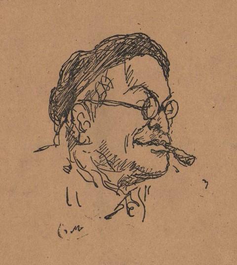 Ritratto di Ungaretti realizzato da Mino Maccari