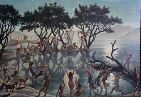 Amos Nattini, S.t. (Lago di Nemi - Notturno), s.d. [1940-43], Collezione privata