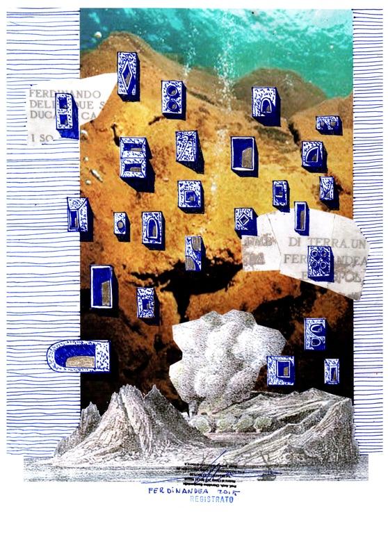 Cherubino Gambardella, Ferdinandea, l'isola misteriosa che visse pochissimo (roller, pastelli e pastelli dorati su carta stampata, dimensioni finali cm. 60x86)