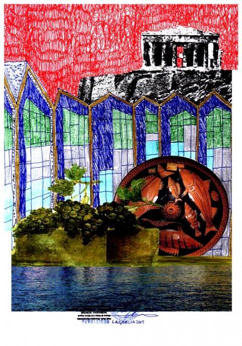 Cherubino Gambardella, La Grecia i suoi cibi e i suoi miti (roller, pastelli e pastelli dorati su carta stampata, dimensioni finali cm. 60x86)