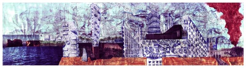 Cherubino Gambardella, La metropoli sezionata fino al mare (collage su carta stampata, roller, glitter pen, smalti dorati e ramati, scotch. dimensioni cm. 240 X 60 circa)