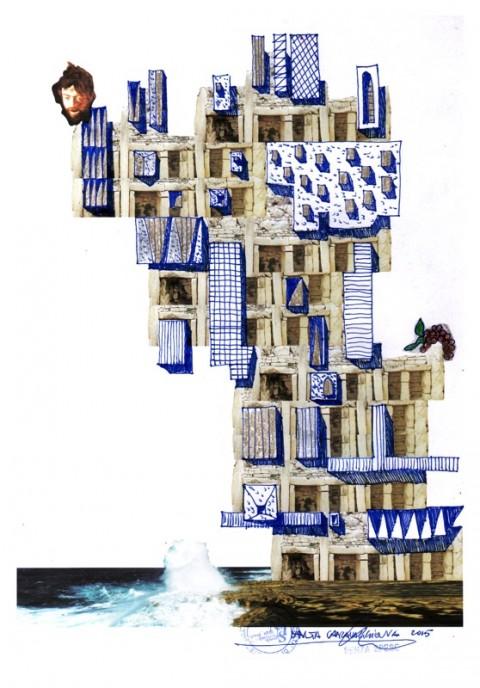 Cherubino Gambardella, Malta rupestre con uva e Caravaggio (roller, pastelli e pastelli dorati su carta stampata, dimensioni finali cm. 60x86)