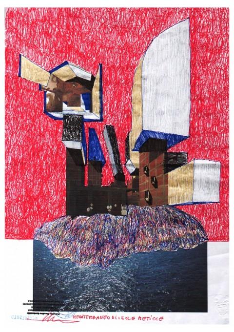 Cherubino Gambardella, Mediterraneo di isole meticce (roller, pastelli a olio e pastelli dorati su carta stampata, dimensioni cm. 42x29,7)