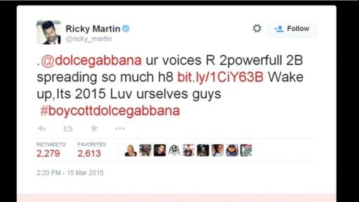 Il tweet di Ricky Martin a marzo 2015