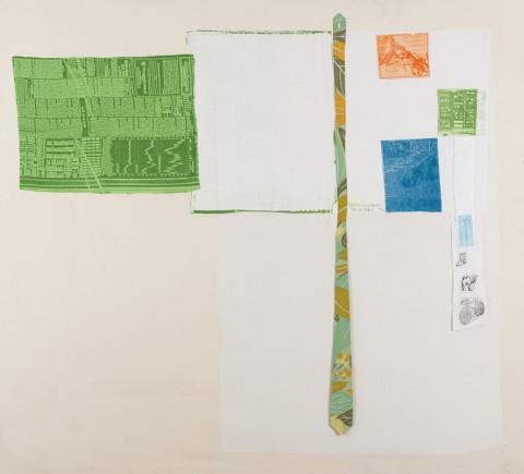 Robert Rauschenberg, Airport (Room Service), 1974, Rilievo e intaglio su tessuto con cravatta verde dell'artista applicati su tela, 163x149cm