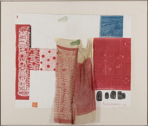 Robert Rauschenberg, Switchboard II, 1974, Rilievo e intaglio su tessuto e collage su lino applicati su tela, 96x113cm