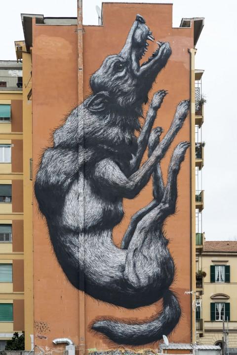 Roa, Jumping Wolf, Roma - photo Giorgio Benni - courtesy 999