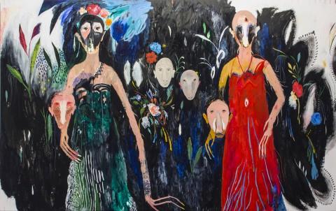 Slvia Mei, Bracciateste e veste rossa, 2014 - cm 242x150, acrylic and mixed media on paper on canvas - photo Zeno Zotti