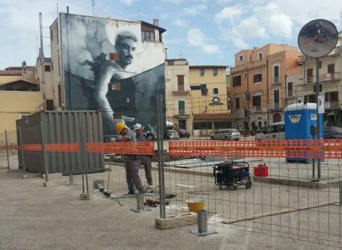 Corato, lavori in corso a Piazza Di Vagno - foto by lostradone.it