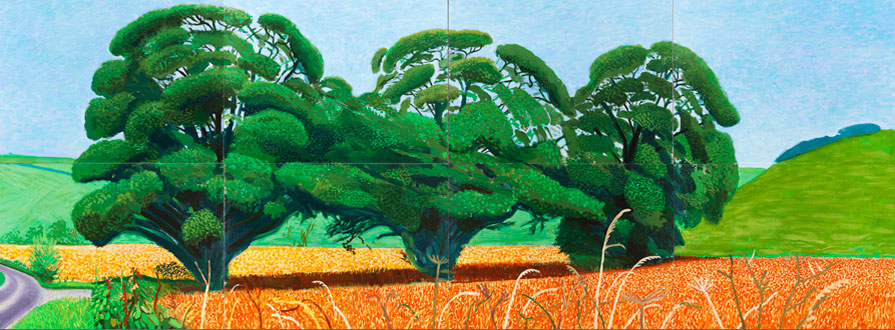 David Hockney, Three Trees near Thixendale, Summer 2007