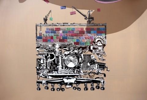 NEVERCREW, Compelling machine n. 1 (particolare) - City Canvas, Amburgo, settembre 2014