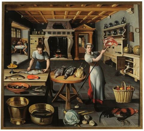 Pittore della scuola di Anversa della seconda metà del XVI secolo, Scena di cucina con cena in Emmaus, 1580-90 - Villa medicea di Poggio a Caiano, Museo della Natura Morta