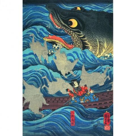 Utagawa Kuniyoshi, L'imperatore Sutoku invia le navi in soccorso di Tametomo, 1851 - Courtesy of Gallery Beniya