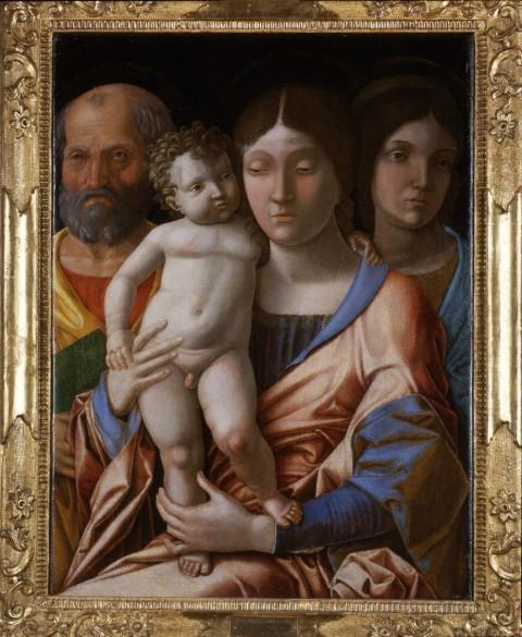 Andrea Mantegna, Sacra Famiglia con una santa, tempera su tela, cm 76x55,5