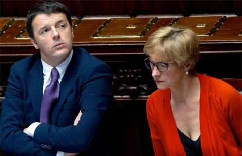 Il premier Matteo Renzi e il Ministro della Difesa Roberta Pinotti