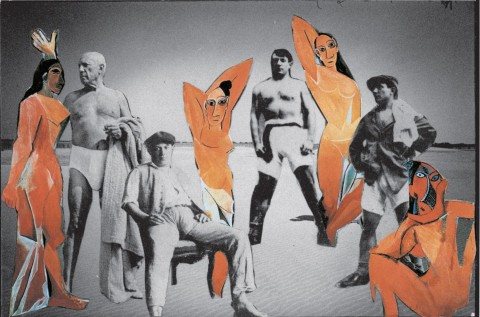 Jan Dziaczkowski, Chłopcy z Malagi pozują na plaży ze swymi dziewczętami, 2003–2007, collage