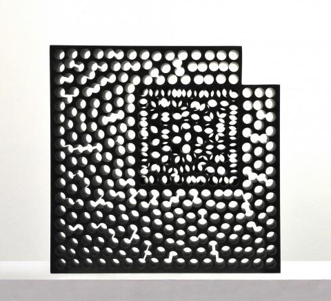 Kubach&Kropp, Stone for the Light, 2014, granito nero di Svezia, 47x47x12,5 cm
