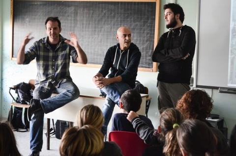 Nicola Verlato, Hostia, 2015 - Ostia - Presentazione agli studenti: da sx Nicola Verlato, David Vecchiato e Mirko Pierri
