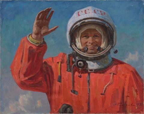 Andrej Plotnov, Arrivederci terrestri, 1979 - olio su tela, cm 80,5x100,5