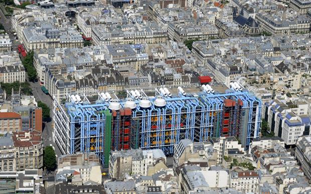 Parigi, il Centre Pompidou visto dall'alto