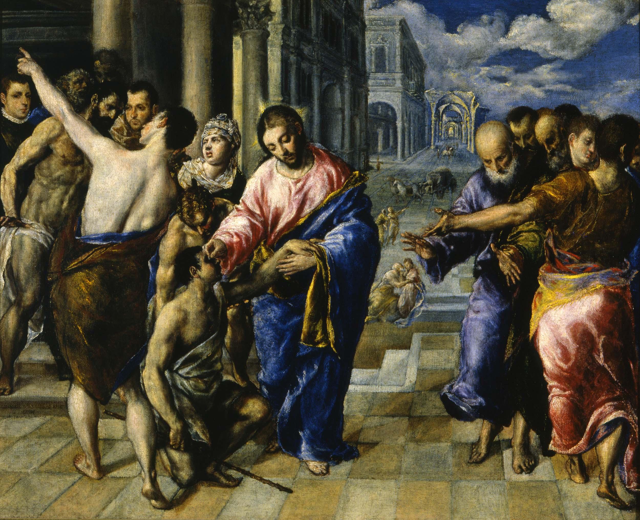Domínikos Theotokópoulos detto El Greco, Guarigione del cieco, 1573-74
