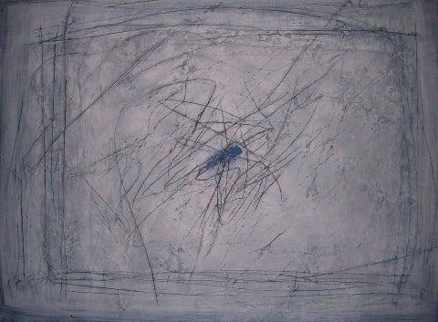 Guido Strazza, Centro blu, 2009, particolare. Collezione Stazione dell'arte, Ulassai