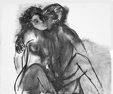 Bertina Lopes, Come un grande amore (autoritratto con il marito), 1968 - Roma, collezione privata