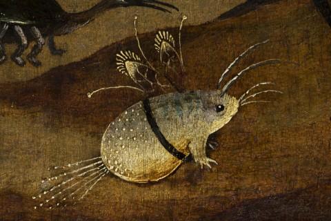 Jheronimus Bosch, Trittico degli Eremiti, dettaglio creature,  pannello sinistra dopo il restauro