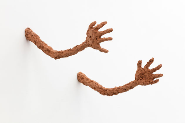 Judith Hopf, Untitled (Pair of Arms), 2015, red clay