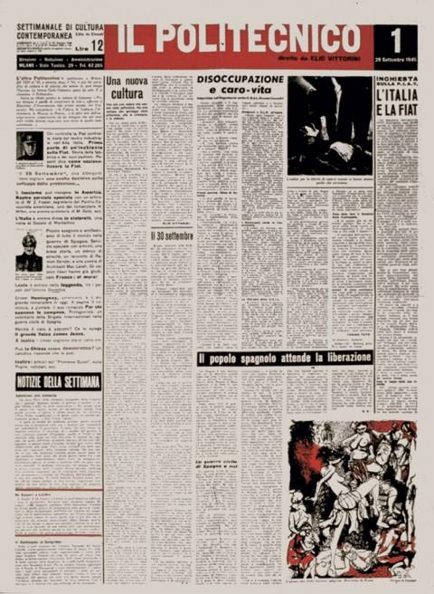 """Albe e Lica Steiner, Prima pagina del giornale """"il Politecnico"""", numero 1, 29 settembre 1945"""