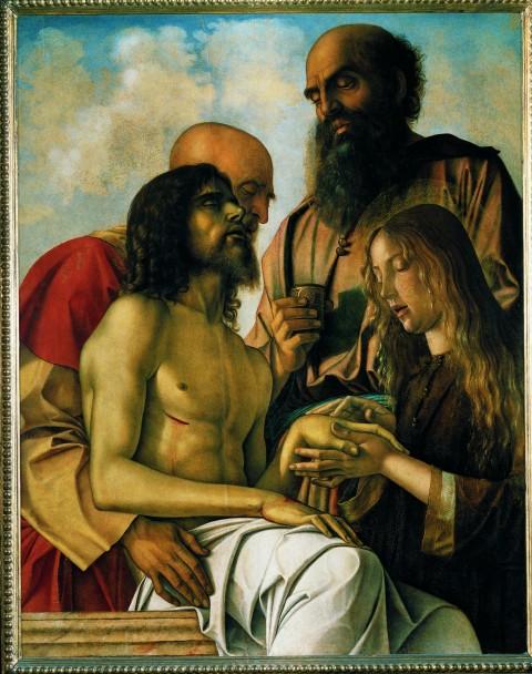 Giovanni Bellini, Compianto, 1473-76, olio su tavola. Musei Vaticani, Città del Vaticano