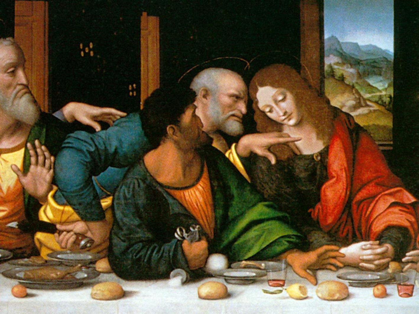 Leonardo da Vinci, Ultima cena, 1495-98 - particolare con - da dx - Giovanni, Pietro, Giuda e Andrea - Santa Maria delle Grazie, Milano
