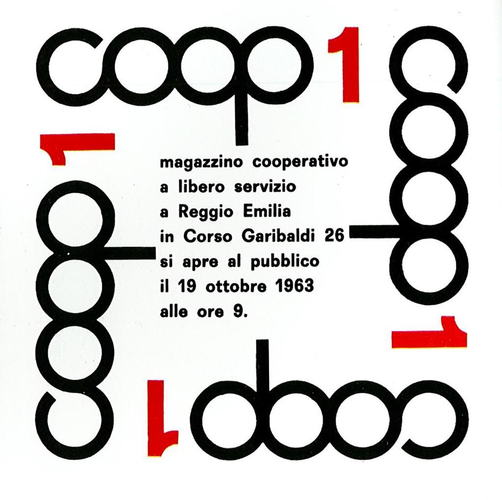 Manifesto per l'inaugurazione del primo magazzino COOP a Reggio Emilia, con il logo disegnato da Albe Steiner, 1963