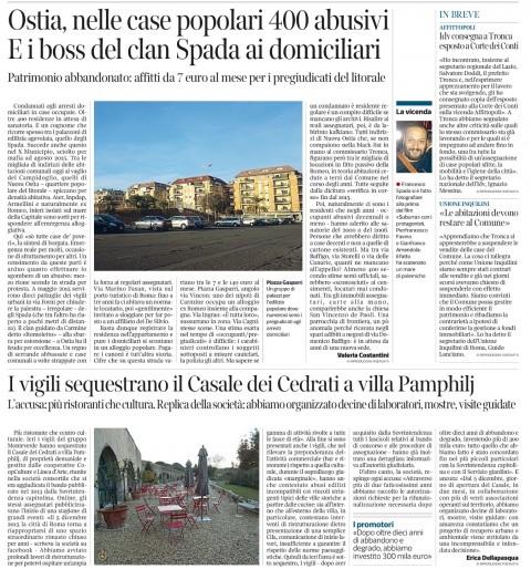 Simbolica pagina del Corriere Roma di oggi: centinaia di abusi e mafie, ma i vigili fanno chiudere lo spazio mostre