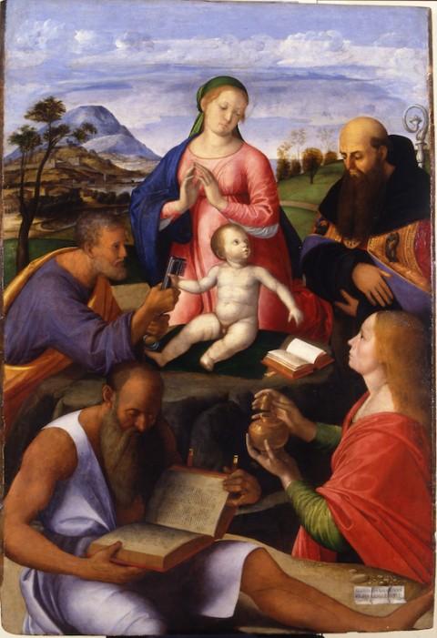Alvise Vivarini, La Vergine con il Bambino e i santi Pietro, Gerolamo, Agostino e Maddalena,1500 - Amiens, Musée de Picardie